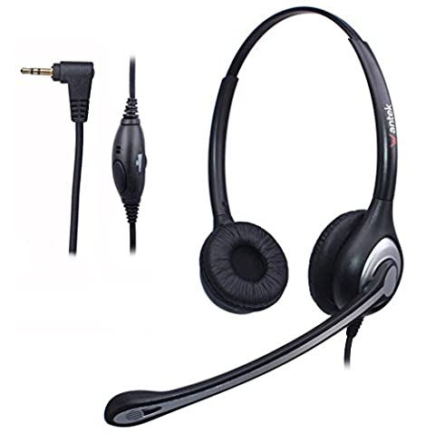 Wantek Corded Telephone Headset Binaural with Noise Cancelling Mic for Cisco Linksys SPA Grandstream Polycom Panasonic Zultys Gigaset AT&T Office IP and Cordless Dect Phones with 2.5mm Jack(F602J25)