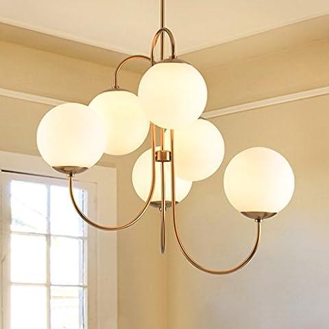 SKC Lighting Dopo ferro lampadario moderno e minimalista, Sala da pranzo Camera artistico Creatività Lattea sfera di vetro Lampada lampadario Abbigliamento