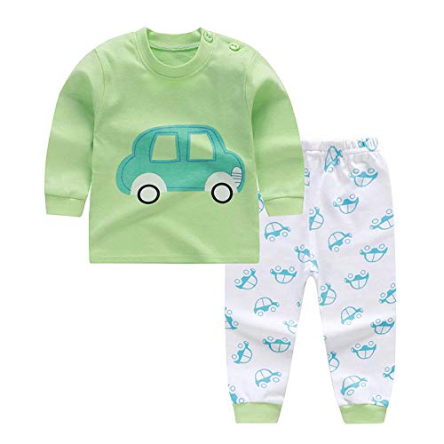 Bold N Elegant Cool Printed Bear Giraffe Car Cartoon Printed Baby Boy Girl Two Piece Clothing Set Full Length Tshirt Pant Set for Infant Toddler Kids (Green-White, 18 to 24 Months)