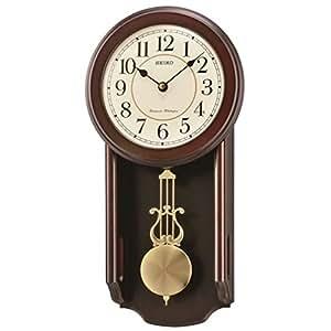 seiko dark wooden quartz battery wall clock westminster