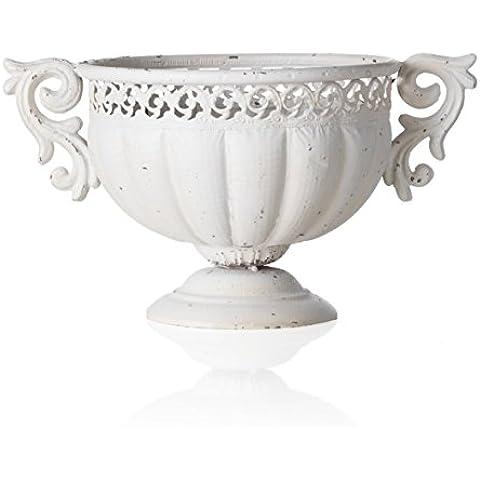 MONTEMAGGI Vaso porta piante a coppa in ferro bianco crema con decorazioni. In stile shabby. Dimensioni: 37x24x20 cm