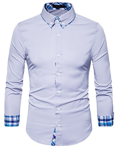 TONLEN Herren Hemden Freizeit Slim Fit Business Hemd Button Down Hemd Grau XXL (Gestreifte Button-up-shirt)