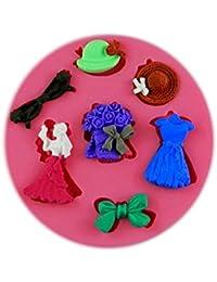 Auket Jupe Chapeau de fête Bow Gâteau fondant savon sucre Artisanat Décoration de moule de silicone # 125 (3DMold-125)