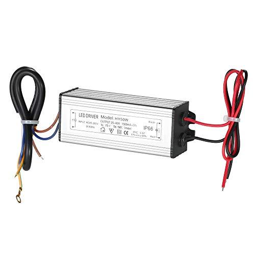 KKmoon LED Power Supply Driver Adapter, 50W LED Konstantstromtreiber Netzteil Transformatorschalter für Square Lights Lager Leuchtet LED Straßenlaterne【IP66 wasserdicht AC85~265V DC25~40V 1500mA】