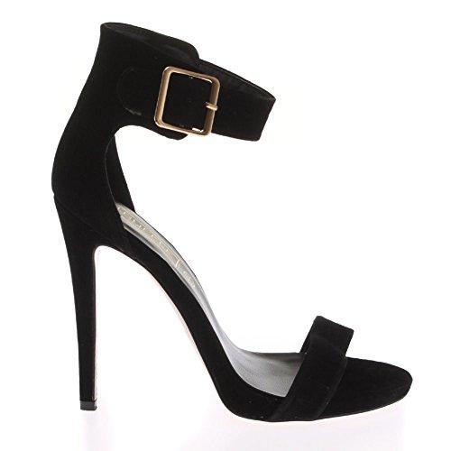 Mesdames Femmes Mid talon haut peep toe cheville Strappy Découpe Sandales Chaussures Taille Noir - BLACK SUEDE ANKLE STRAP SUMMER SANDALS