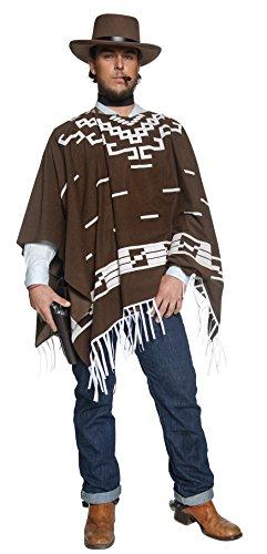 Kostüm Räuber - Authentische Western Kollektion Umherstreifender Räuber Kostüm mit Poncho Weste mit Hemdattrappe und Halstuch, Large