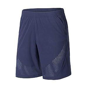 GGOOD Herren Laufshorts Leicht Workout Sport Gym Short Quick Dry für Fitnesstraining Bodybuilding Übung mit Taschen Blaus XXL