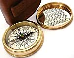 Robert Frost Poem Compass-Pocket Compass W Leather Case .