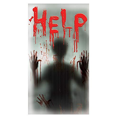 Oblique Unique® Halloween Sticker Help mit Geist Silhouette für Fenster Fliesen Wand Deko Realistisch Wirkender Schauriger blutiger Horror Aufkleber - wiederablösbar