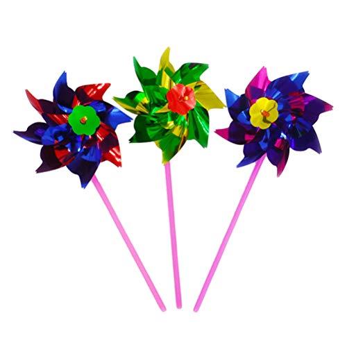 ühle Spielzeug Windräder Kinder Handwerk Garten Party Spielzeug Festival Gartendeko für Draußen Strand Terrasse Blumenkübeln und Beeten (Zufällige Farbe) ()