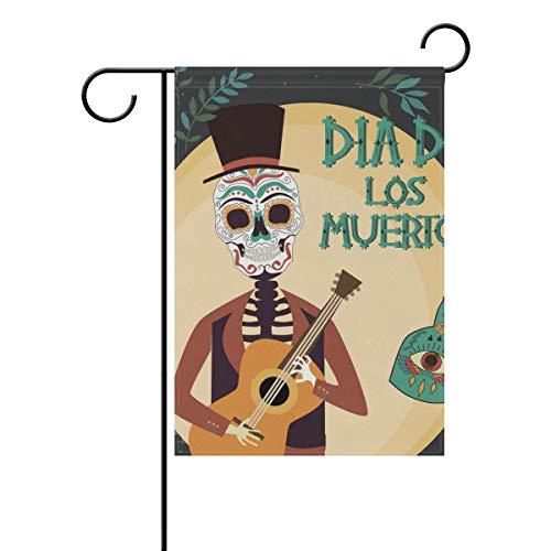 SUNOP Polyester-Gartenflagge Mexikanischer Urlaub 'Day of The Dead' Banner 30,5 x 45,7 cm für den Außenbereich, Haus, Garten, Blumentopf, Dekoration, Partyzubehör (Mexikanische Blumentöpfe)
