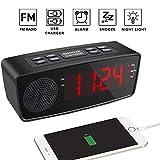HEDDK Radiowecker, Digitaler FM-Alarm, Radiowecker, USB-Ladeanschluss, LED-Anzeige, Dimmer, Sleep-Timer, Snooze-Batterie-Backup-Schlafzimmer, Tabellen (Rot, Blau),Black+Red