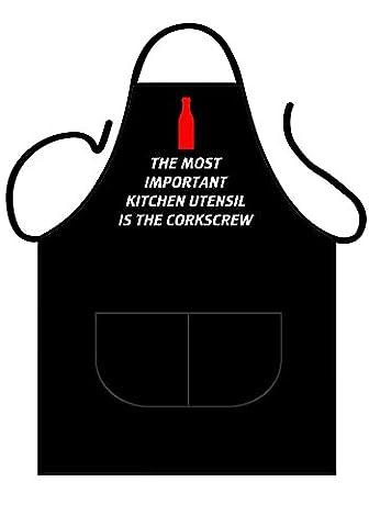 Tablier noir en coton avec inscription humoristique, boutade, pour cuisine ou barbecue de jardin, à (cucina all'aperto)