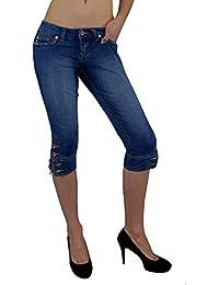 S&LU angesagte Damen Bermuda-Jeans Capri-Jeans in 3/4-Länge mit Totenkopf-, bzw. Tribal-3D-Jeansdruck auf der Gesäßtasche Größe 30 - 40