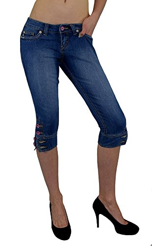 S&LU angesagte Damen Bermuda-Jeans Capri-Jeans in 3/4-Länge mit Totenkopf-, bzw. Tribal-3D-Jeansdruck auf der Gesäßtasche Größe 30 - 40 Tribal 36 (Denim Capris Skinny)