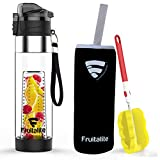 Fruitalite Fruit Infuser Water Bottle Black - Large 700Ml/24Oz With Thermo Sleeve, Detox
