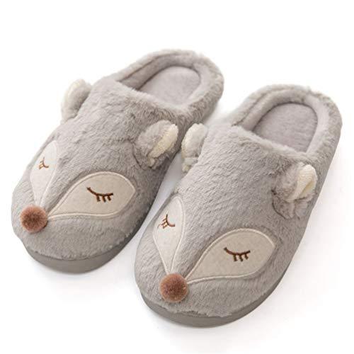 Femmes Hiver Chaud Maison Pantoufles Dessin Animé Mignon Animal Fox Chaussures en Peluche Maison Flip Flop Coton Plat Flip Flop