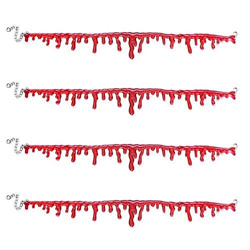 Halloween-Blut-Halskette, 4 Stück, gruselige Bluttropfen, Halshalskette, Blutung,