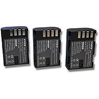 3 x vhbw Li-Ion Akku Set 2000mAh (7.2V) für Kamera Panasonic Lumix DMC-G9 wie DMW-BLF19, DMW-BLF19E.