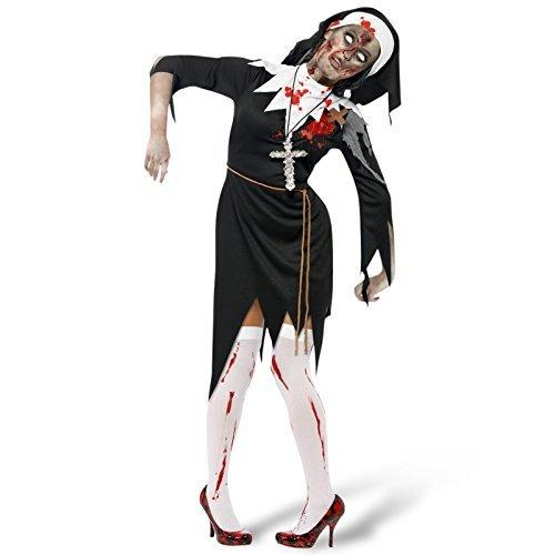 Damen Leichnam Zombie Schwester Mary Nonne Religiös Halloween Kostüm EU 36-50 Übergröße - Mehrfarbig, (Kinder Kostüme Religiöse)