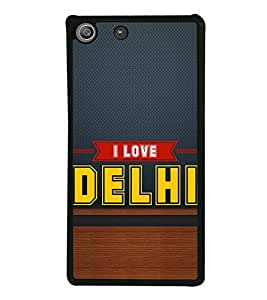 HiFi High Glossy Designer Phone Back Case Cover Sony Xperia M5 Dual :: Sony Xperia M5 E5633 E5643 E5663 ( I love Delhi Blue Wood Look )