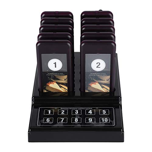 ASHATA Drahtloses Pager System Gästeruf-Pager, Wireless Gästerufsystem Kundenrufsystem,Drahtloses Gästeruf Kundenrufsystem 10 Kanäle Paging-System für Restaurant Cafeteria Schnellimbiss usw.(EU) Pager-system