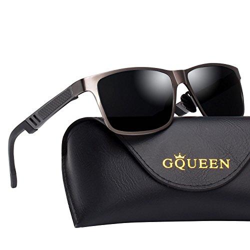 GQUEEN Retro Al-Mg Rahmen Wayfarer für Männer Polarisierte Sonnenbrille UV400 Schutz MS0