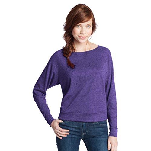 DISTRICT  Threads DT272 - Juniors Textured Wide Neck Long Sleeve Raglan - Purple - M (US)