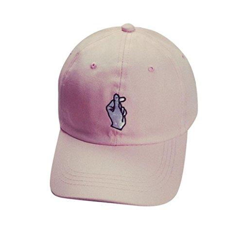 Ularma Moda unisex letra W Hockey béisbol gorras sombreros Hip Hop (Talla única, Rosa)
