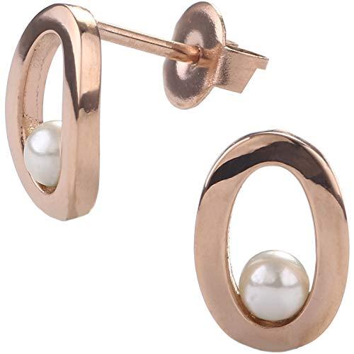 EYS JEWELRY Damen-Ohrstecker oval Edelstahl rosé-vergoldet Glas-Perle weiß 11 x 8 mm Damen-Ohrringe im Schmuck Etui Oval Rose