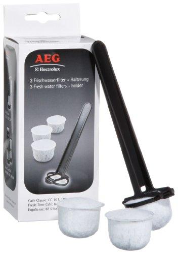 AEG FWF02 Frischwasserfilter mit Halter für AEG Kaffeeautomaten KF 51/KF 52, 3 Stück (Kaffeemaschine-filter-halter)