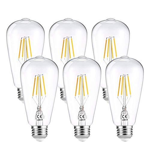 LEDGLE Lot de 6 Ampoule LED à Filament Dimmable E27 ST64 Retro Edison Vintage 400 Lumens 4W Equivalent à Ampoule Halogène de 40W Angle de Faisceau 360 ° pour la Décoration 2700K-Blanc Chaud