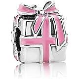 Pandora Damen-Charm 925 Sterling Silber Geschenk Emaille rosa 791132EN24