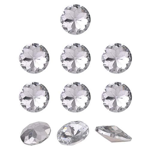 ZCHXD 10pcs Furniture Tack Nails 18mm Dia Round Head Diamond Shape Glass Thumbtack DIY Sofa Buttons Headboard Crafts Decorate Clear
