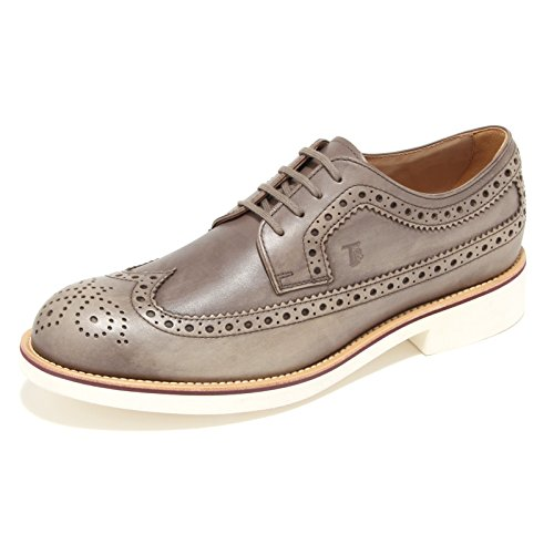 0487M scarpa uomo grigio marrone TOD'S derby bucature f light scarpe shoes men palude