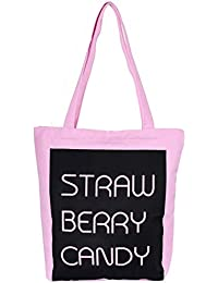 Tradico® Pink Letter 1: Canvas Letter Pattern Home Shopping Clothes Mirror Cosmetic Holder Tote Bag Pink