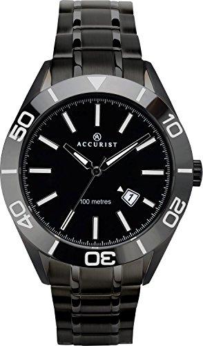 Accurist analogique pour homme montre à quartz avec Noir Cadran noir Bracelet en acier inoxydable et verre cristal Saphir 7223
