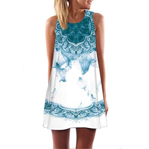 (VJGOAL Damen Kleid, Damen Sommer Vintage Boho ärmelloses Strand Gedruckt Kurze Mini Party Kleid Frau Geschenk (M / 40, Hellblau-2))
