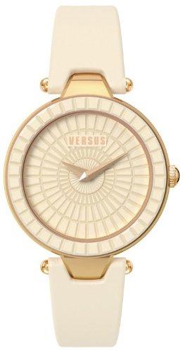 VERSUS by VERSACE SQ1030013 - Reloj Sertie para mujer, Chapado con correa de piel marfil 38mm