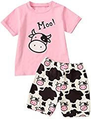 Zrom Baby Clothes Set,1-5 Years Toddler Infant Baby Girls Cartoon Letter Cow Boys T-Shirt Tops Shorts Outfits