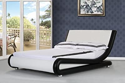 4ft6 Italian Designer Faux Leather Double Mallorca Bed Frame in BLACK AND WHITE produced by Comfy Living - uk online web store