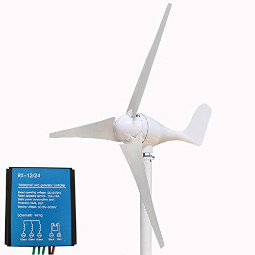 12V/24V 500W 3 Blades Horizontal Residential Wind Turbine Generator + Controller