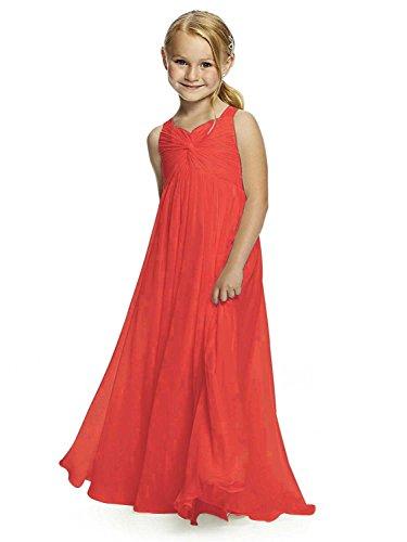 Izanoy Mädchen Chiffon Heilige erste Kommunion Blumenmädchen Kleid Junior Brautjungfer Kleid Koralle 10