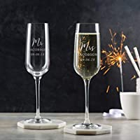 Personalised Wedding Champagne Glasses Pair/Bride And Groom Personalised Wedding Gifts/Engraved Champagne Flutes For Mr & Mrs/Personalised Wedding Anniversary Gifts for Couples