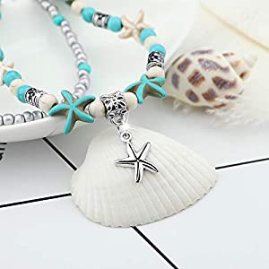 YooAi Multilayer Boho Starfish Turtle Anklet Perline per Gioielli da Donna Starf