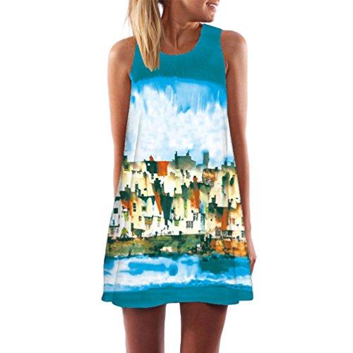 WanYang Casual da Donna Estate Stampa Slim Senza Maniche Canotte Spiaggia Mini Vestito (Bianca alquanto trasparente) Ink Painting _018
