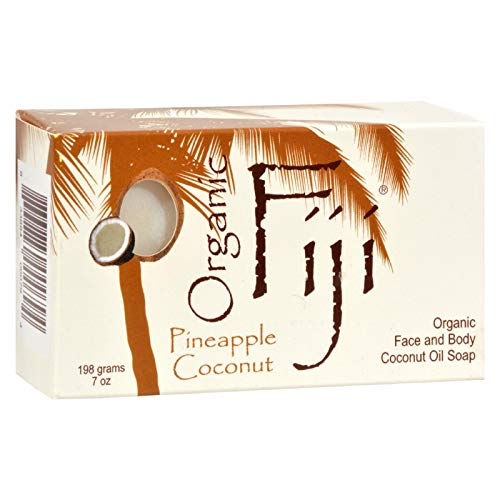 Organic Fiji Coconut Oil Soap, For Face and Body, 100% Certified Organic, Pineapple Coconut, 7-Ounce by Organic Fiji