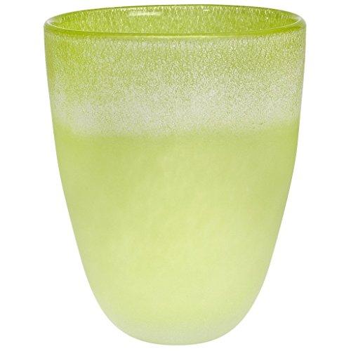 CRISTALICA Bouquet Vase Blumenvase Übertopf Colori Grün Patina H 27 cm D 22 cm Handgeformt Mundgeblasenes Glas Crystal Glass Vase