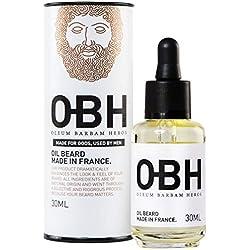 Huile à Barbe 100% Naturelle OBH | Soin Bio-actif pour Homme | Entretien la Barbe, Hydrate et Stimule la Pousse | Huile d'Argan Pépins de Raisin | Sans Ricin Malodorant | Parfum Léger | Made in France