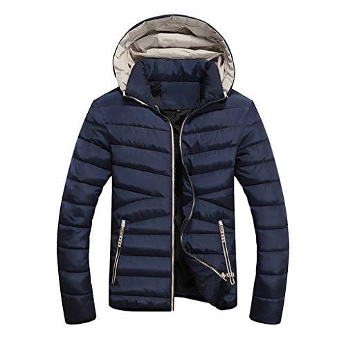 Amphia - Herren Kapuzenjacke - Plain/Freizeit - Warme Baumwolle, Männlich Herbst Winter Slim Langarm Anzug Jacke Trenchcoat Top Bluse(Marine,L)